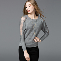 Women Pullovers 2018 New Spring Lace Hollow Out Batwing Sleeve Pullover European Style O Neck Loose Bottoming Knitted Sweaters