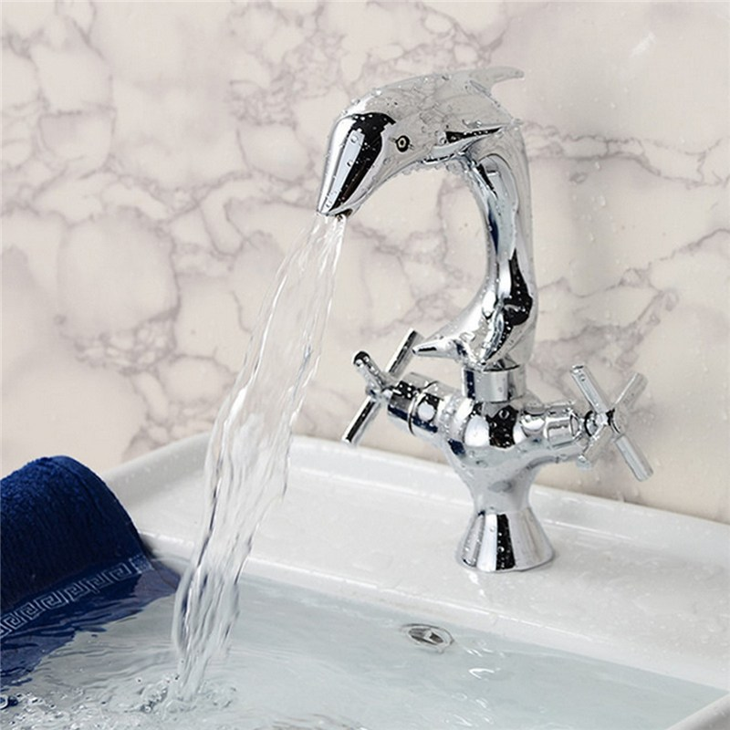 Xueqin Dolphin Style Double Handle Basin Faucet Chrome Finish Bathroom Dual Hole Mixers with Hot and