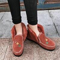 NAYIDUYUN Big Fur Women Kid Suede Leather Flats Heel Ankle Boots Round Toe Slip On Winter