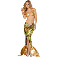 Women Sexy Mermaid Carnival Costume Halloween Cosplay Fancy Dress For Fairy Tale Role Playing Gold Sequins