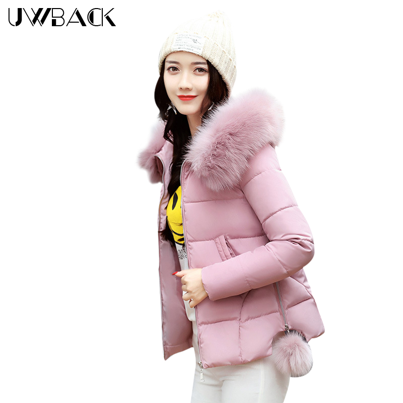 Uwback Women Short Jacket Winter Coat with Faux Fur Hood 2018 New Casual Parka Mujer Solid Color Outwear Slim Warm, EB571