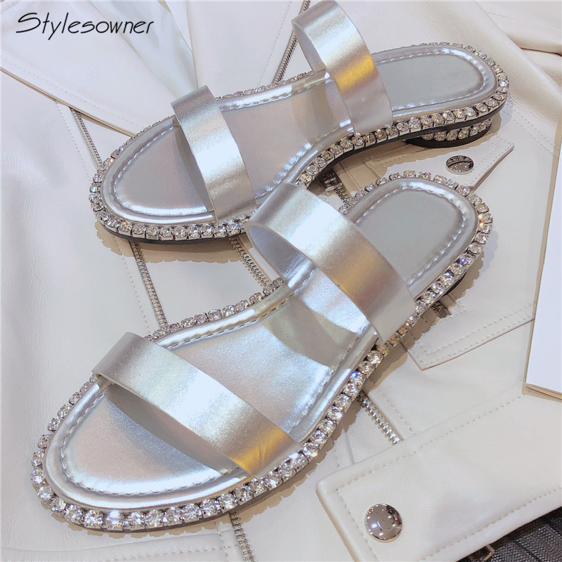 Stylesowner Summer New Fashion Bling Bling Pearl Beading Sandals Women Open Toe Ladies Slippers Sexy Silver Flat With Trend Shoe