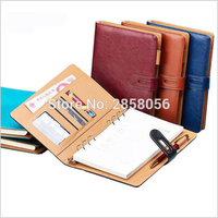 PU Leather Notebook A5 A4 Hole Rings Business Noteboos Gifts Wine Blue Brown