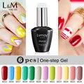 6 PCS Lvmay One Step Gel Gorgeous 60 Colors Soak Off UV Gel The Best 3 in 1 Gel Color Gel Nails 12 ML Nail Polish