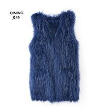 New womens real knit raccoon vest fur collar winter slim authentic ladies long warm jacket H22