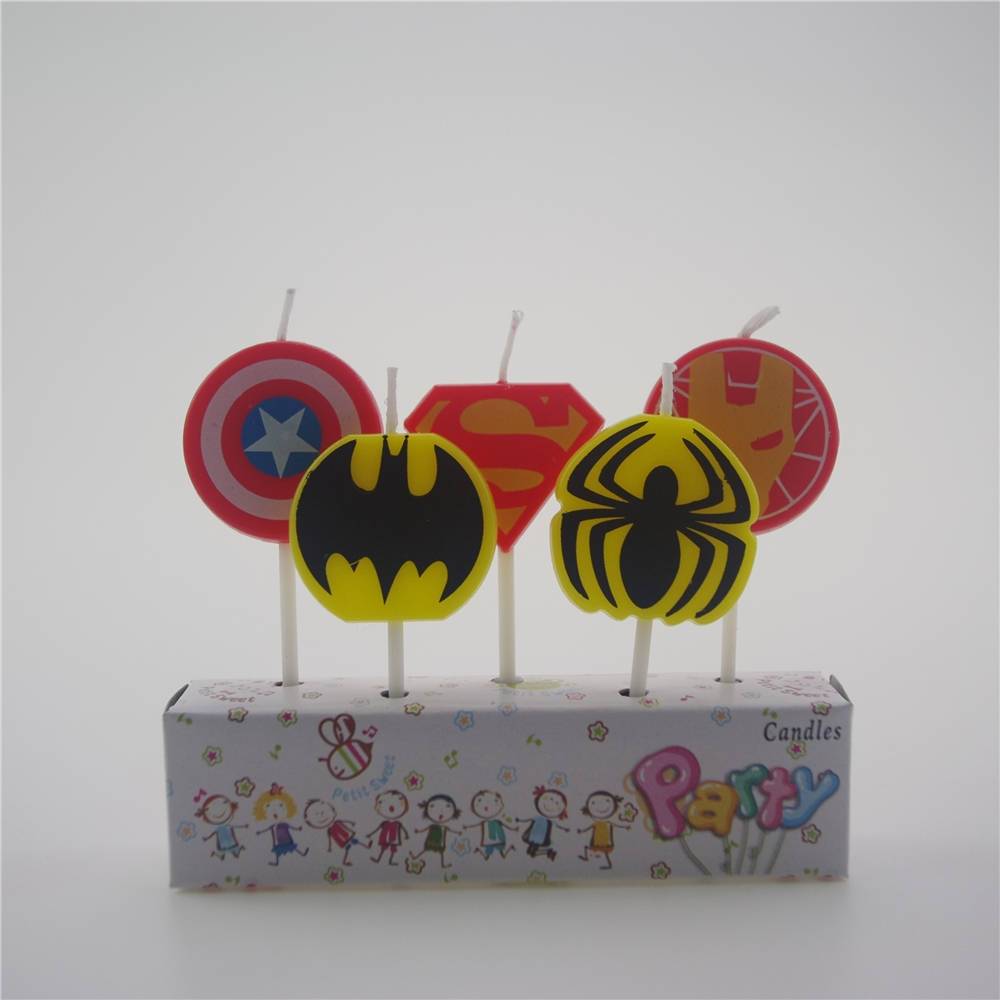 Candle 5Pcs/set Superhero Spiderman Batman Superman US captain Birthday Cake Candle Baby shower Decorative Candle Party Supplies