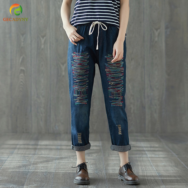 New Spring Summer Autumn Women Harem Jeans Pants Fashion Loose Embroidery Striped Stitch Holes Jeans High Waist Ladies Trousers