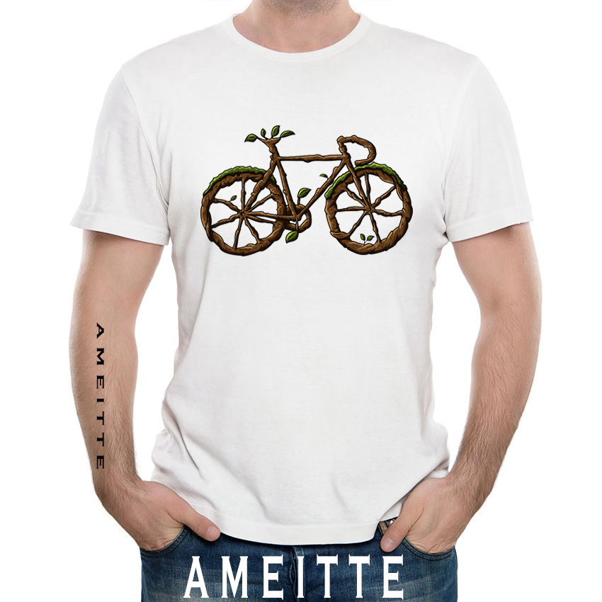 bcf6c97eb2 New Fashion Summer Men t-shirt Funny Green Tree Bicycle Art T-Shirt Vintage