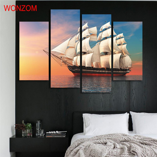 Sunset Sailing Ship Canvas Painting 4pcs Ocean On Cuadros Abstractos Wall Pictures