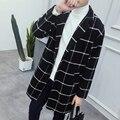 Men fall in new men's windbreaker long slim Korean wool coat woolen coat lattice British students tide
