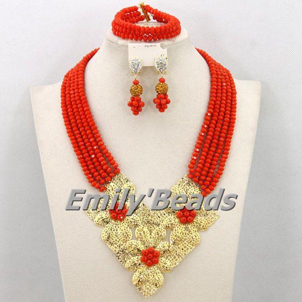 2cdb41bd6154 Africano collar de cristal conjunto de joyería nigeriana boda Africana  Cuentas joyería Africana joyería libre aej656