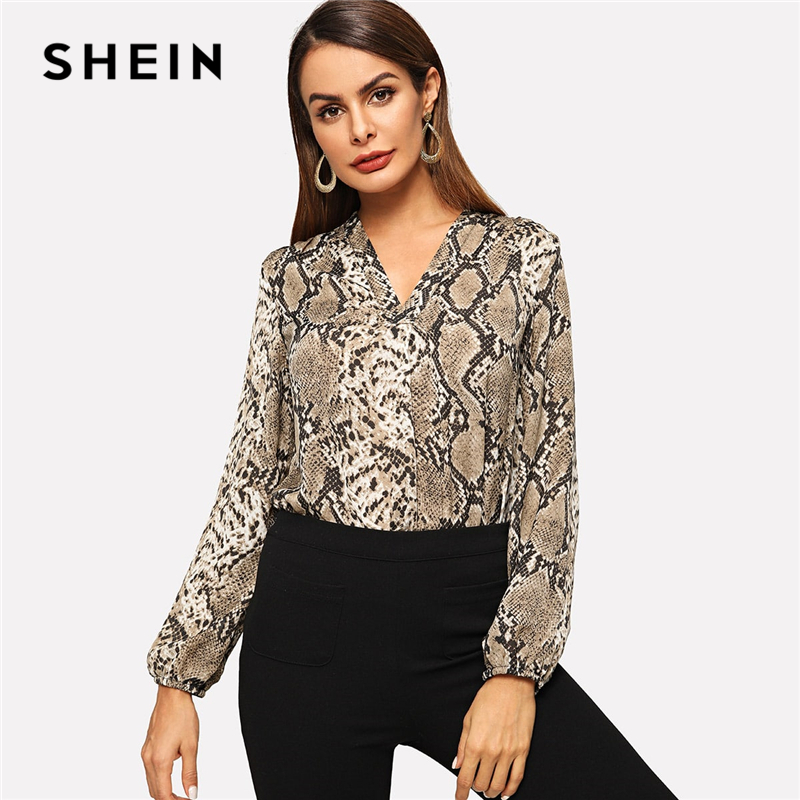 SHEIN Multicolor Office Lady Elegant Snakeskin V-neck Long Sleeve Workwear Blouse Autumn Women Modern Lady Women Tops And Blouse