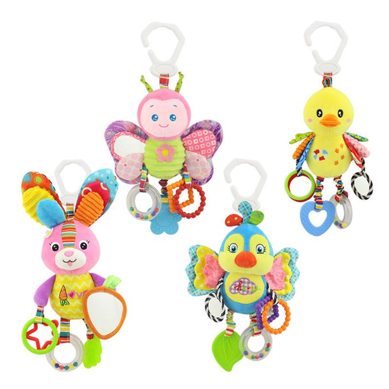 Kid Infant Rattles Plush Animal Stroller Hanging Bell Play Toy Doll Soft Bed Yellow Chicken Butterrfly Rabbit Blue Bird Colorful