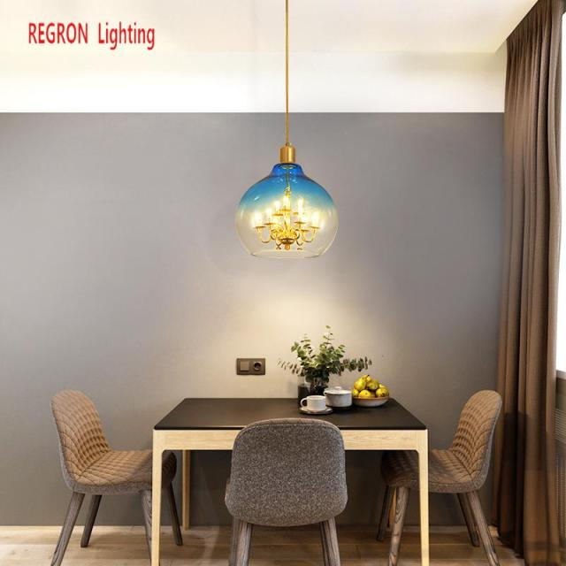 Regron Nordic Pendant Lights Vintage Creative 9 Heads Led Pendant Lamp For Living Room Restaurant Bar Glass Ball Hanging Lantern