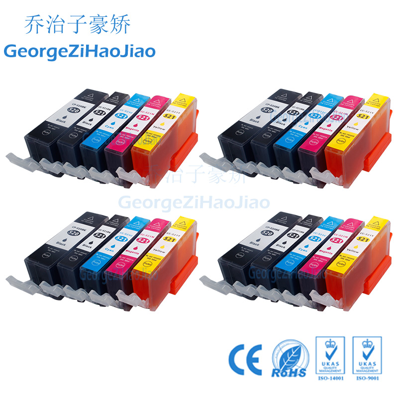4sets 520XL Compatible Chipped <font><b>Ink</b></font> <font><b>Cartridges</b></font> for <font><b>Canon</b></font> pgi520 MP620 <font><b>MP630</b></font> MP640 IP3600 IP4600 IP4700 Printer image