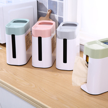 2-in-1 Waste Bins Tissue Box Multifunction Study Desktop Convenient Trash Cans Creative Kitchen Mini-garbage Household Container