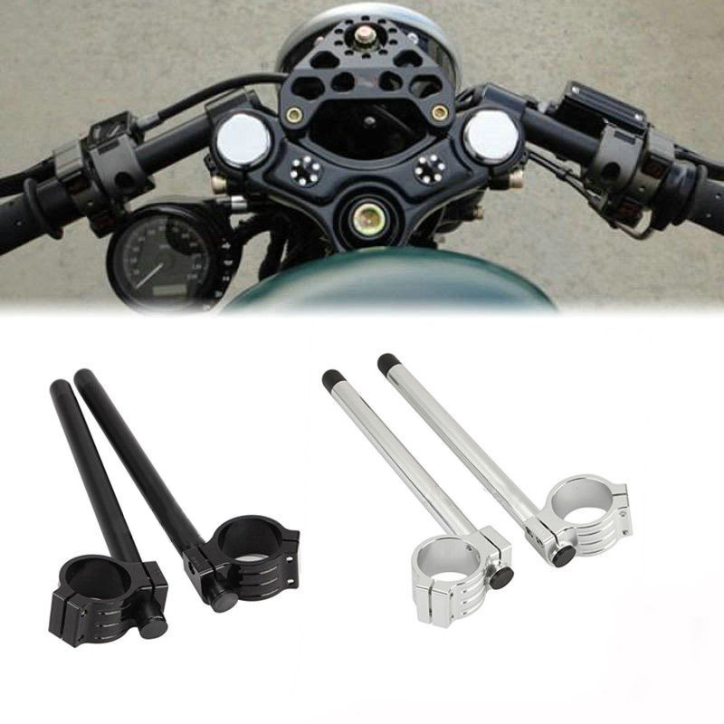 39 mm Motorcycle Universal Black Silver Racing CNC Clip On Fork Handlebars 7/8 Handle Bar Replacement For Harley-Davidson