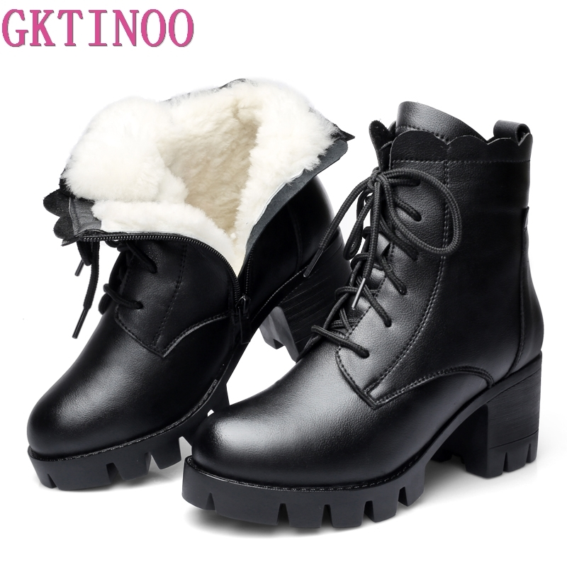 GKTINOO 2019 Fashion Genuine Leather Ankle Boots Women Winter Wool Warm Boots Thick High Heels Snow