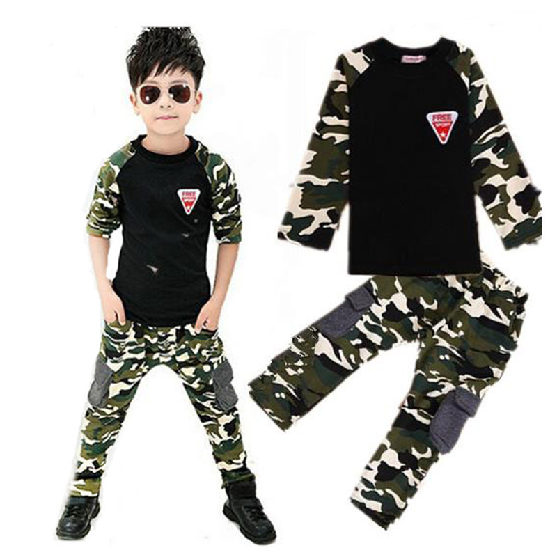Camouflage Childrens Clothing Set 2017 New Spring Autumn Boys Girls Sports Suits Casual Long Sleeve Kids Clothes 2017 new boys clothing set camouflage 3 9t boy sports suits kids clothes suit cotton boys tracksuit teenage costume long sleeve