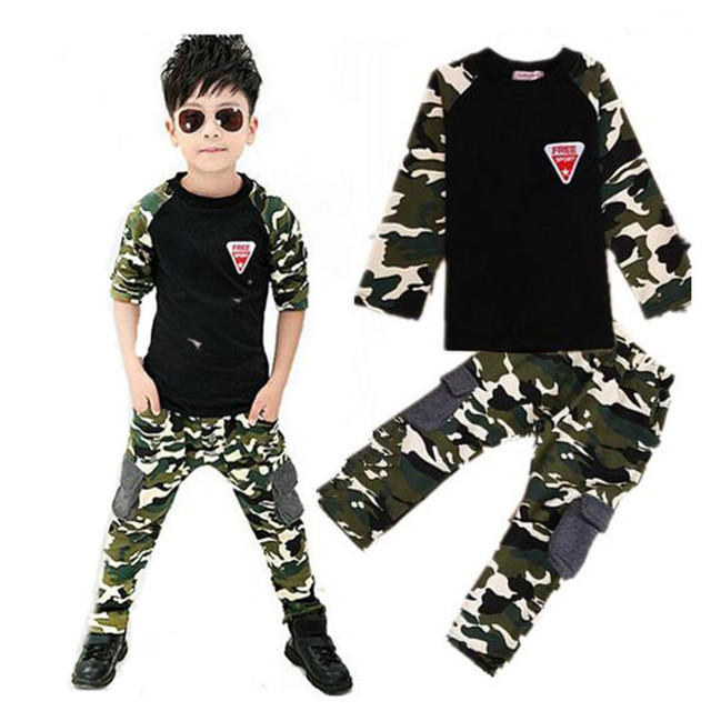 Camouflage Childrens Clothing Set 2017 New Spring Autumn Boys Girls Sports Suits Casual Long Sleeve Kids Clothes