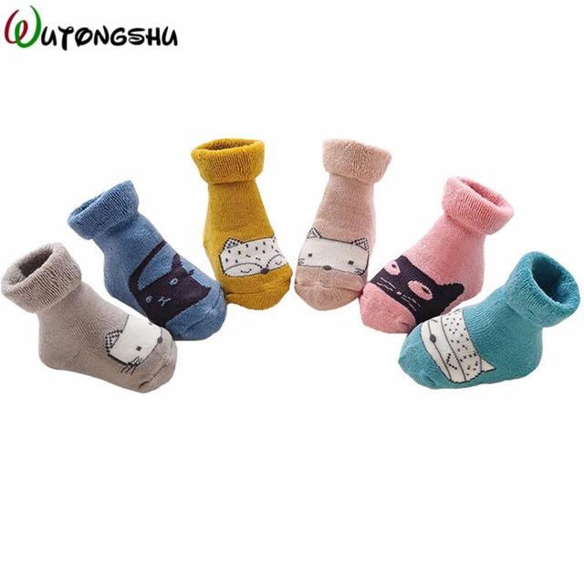 55c95359ca1be Unisexe 3 paires/lot nouveau-né bébé chaussettes hiver chaud coton bébé garçon  chaussette