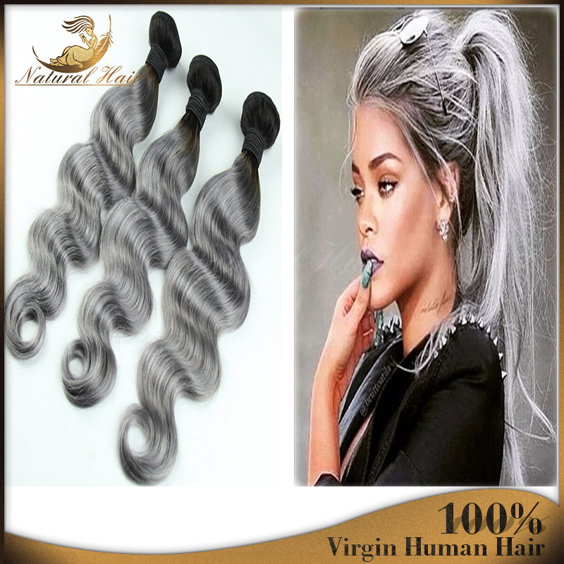 2015 hot dark roots grey hair weave ombre 1bgrey brazilian body 2015 hot dark roots grey hair weave ombre 1bgrey brazilian body wave virgin hair 3 bundles silver grey human hair extension in hair weaves from hair pmusecretfo Images