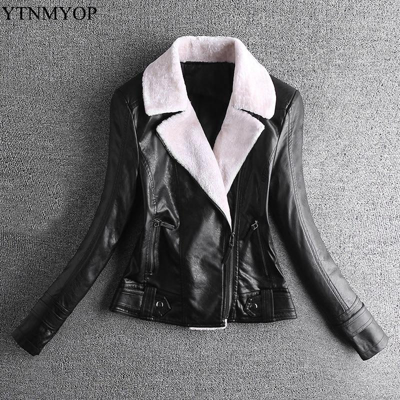 YTNMYOP New Slim Slimming Locomotive Jackets Female Winter Lapel Thick Faux   Leather   Jacket Autumn Black Clothing Outerwear