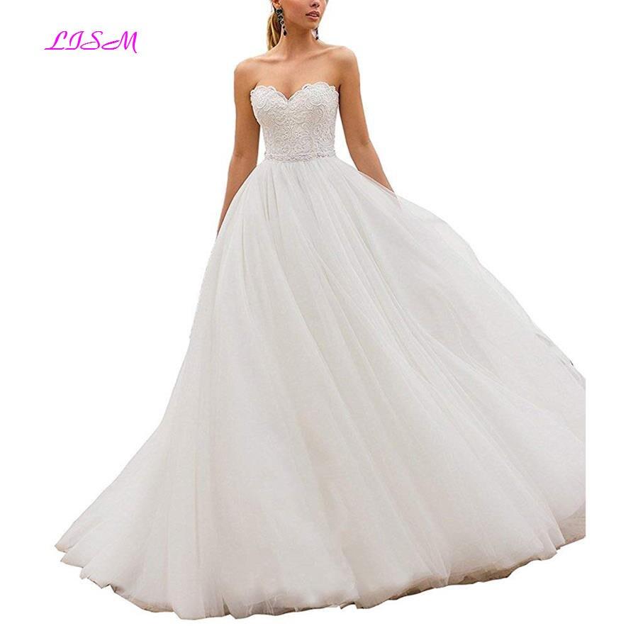 Милая Пляж свадебное платье бохо кружевная Апликация Империя Длинные Пышные свадебные платья Тюль Свадебное платье для принцессы vestido de noiva