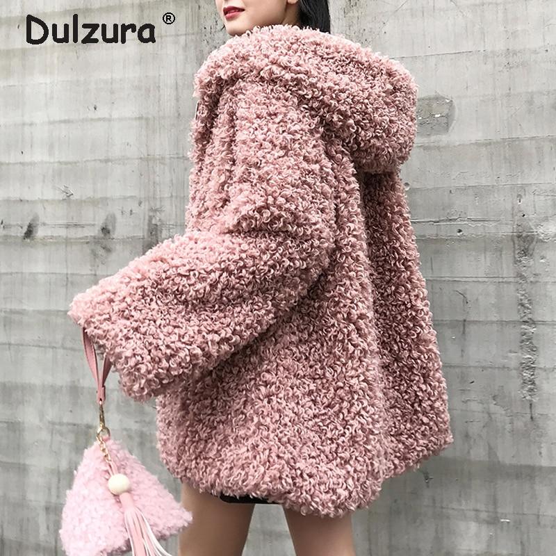 Oversized Hooded Fake Fur Jacket Women Fluffy Shaggy Zipper Faux Fur Coat Women Winter 2018 Thicken Warm Jackets Furry Overcoat