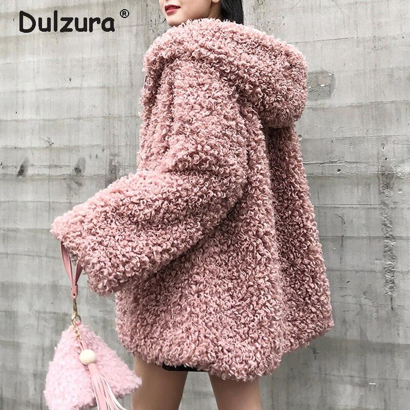 Surdimensionné à capuche fausse fourrure veste femmes moelleux Shaggy Zipper fausse fourrure manteau femmes hiver 2018 épaissir chaud vestes fourrure pardessus