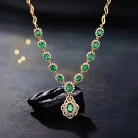 Natural green emerald Elegant Diana round Sunflower Necklace Natural gemstone Pendant Necklace 925 sliver women party Jewelry