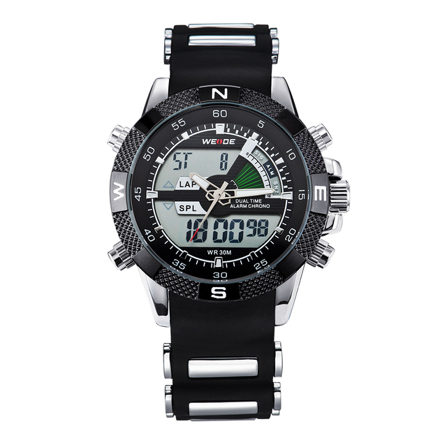 WEIDE Watches Mens Sport Backlight Stopwatch Luxury Famous Military LCD Analog Digital Date Week Alarm Display Relogio Masculino