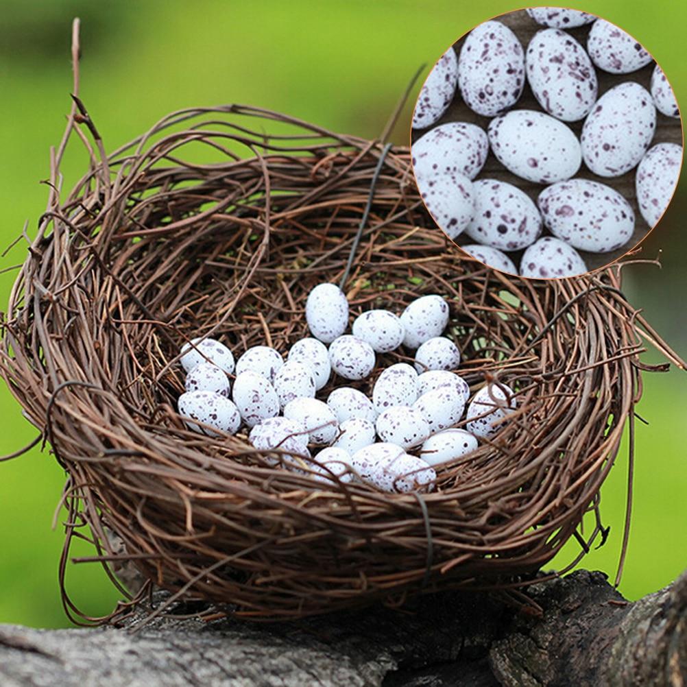 6 Pcs Mini Eggs 1 Nest Miniature Figurine Toys Crafts Accessories Artificial Birds Nest Simulation Eggs Fairy Garden Supplies
