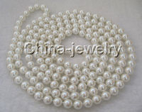 P1464 80 Long 10mm natural white south sea shell pearl necklace
