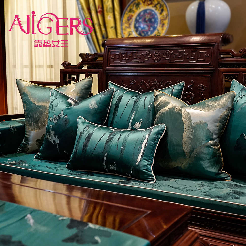 Avigers Chinese Style Dark Green Cushion Covers Soft Embroidery Lotus Flower Leaf Pillow Cases Home Decorative for Sofa