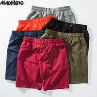 Madhero Comfortable Cotton Shorts Men Hip Hop Elastic Waist Shorts Homme Bermuda Hollistic Masculina Orange Short