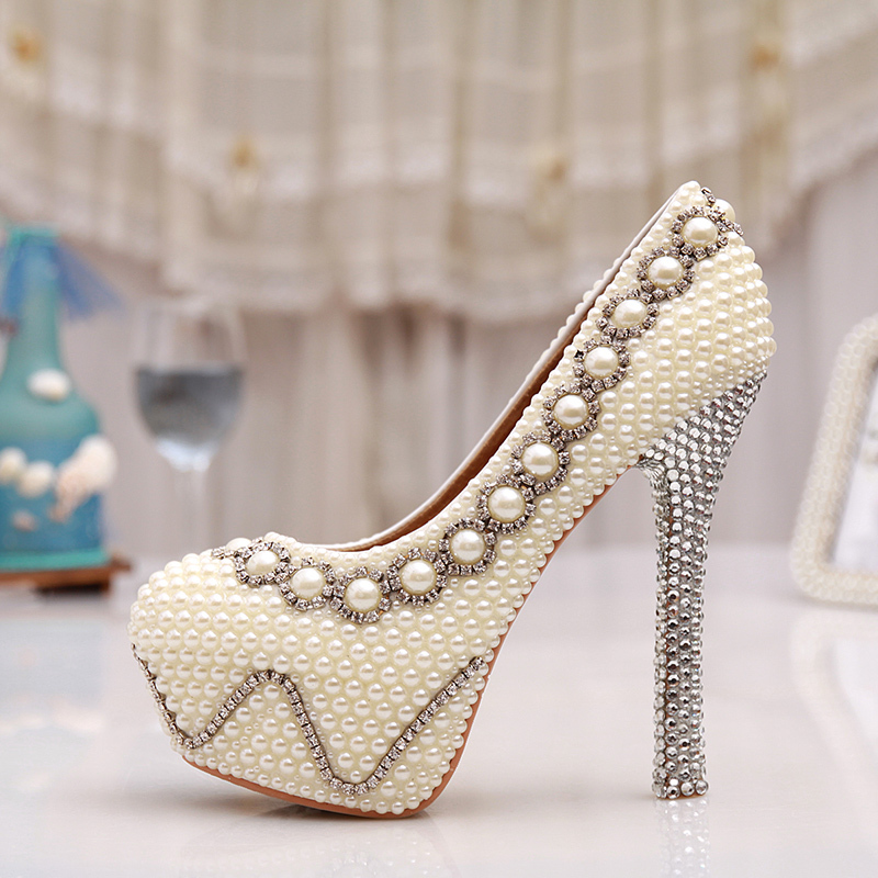4404f9215e51e1 Free Shipping 5 Inches White Pearl Wedding Shoes Rhinestone Bridal High  Heels Sexy Prom Pumps Ivory Bridesmaid Shoes Large Size