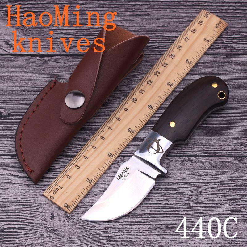 Prix pour HM Main fixe lame Mini couteau de chasse 440C lame Rosewood poignée Mante camping survie couteaux de poche tactiques en plein air outil
