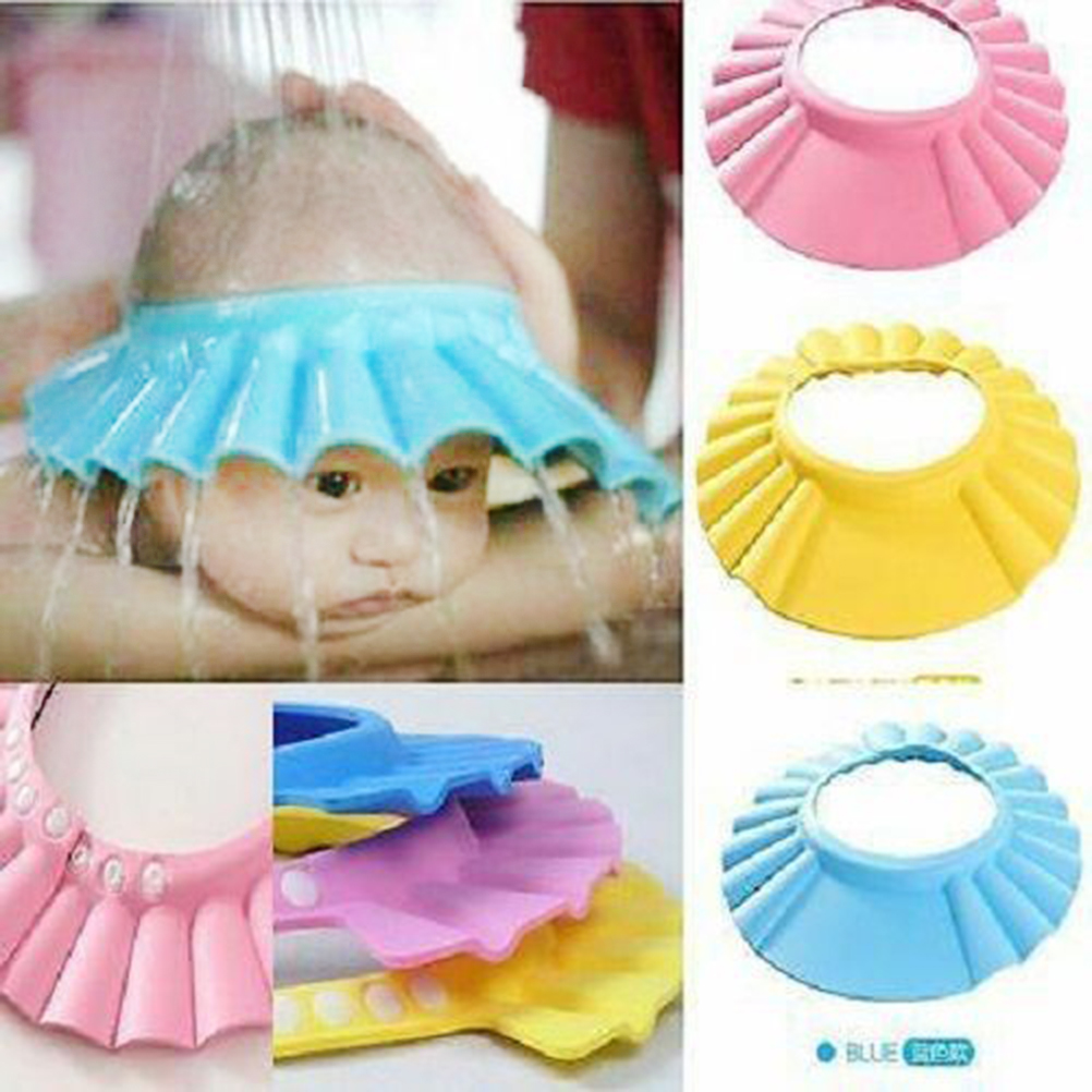 Wash Hair Shield Children Bathing Shower Cap Baby Shampoo Shower Bathing Cap Soft Adjustable Bathing Hat For Toddler Baby