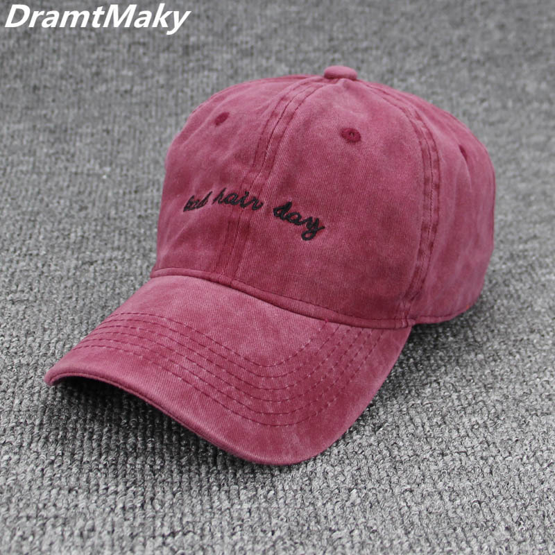 5bc7925005ae Fashion Bad Hair Day Washed Baseball Cap Women Men Hat Cap Casual Snapback  Letter Dad Hat Summer Cotton Adjustable Bone Male