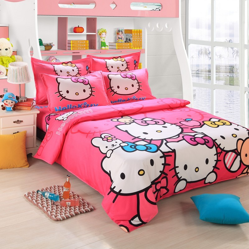 free ship 4pcs pink hello kitty cartoon kids grils comforter bedding sets adult queen size. Black Bedroom Furniture Sets. Home Design Ideas