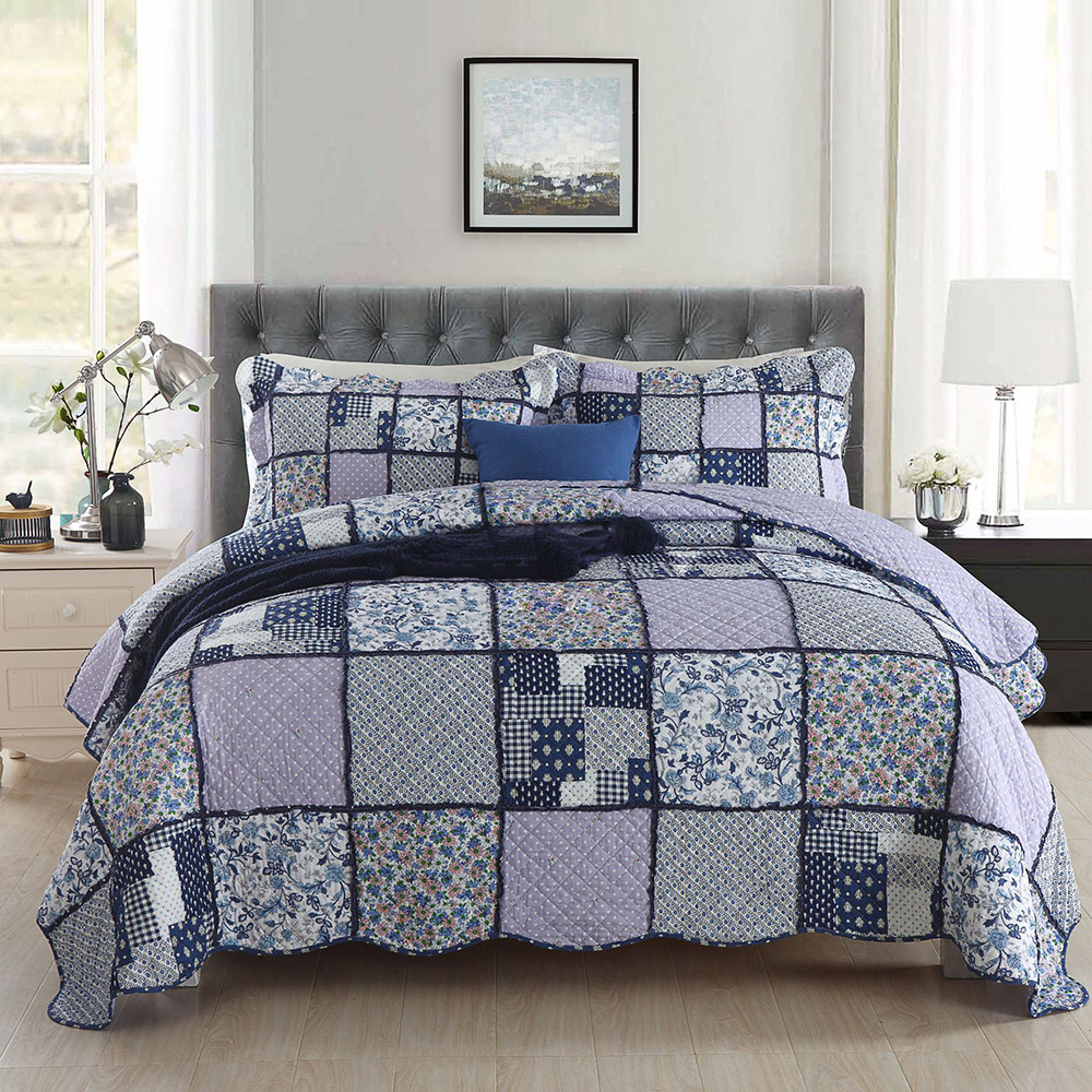 American Bedspread Patchwork Quilt Set 3pcs Coverlet Cotton Quilts Including Pillowcase Bed Covers King Queen Size Blanket-in Quilts from Home & Garden    1