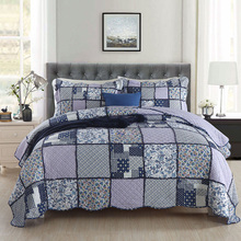 American Bedspread Patchwork Quilt Set 3pcs Coverlet Cotton Quilts Including Pillowcase Bed Covers King Queen Size Blanket