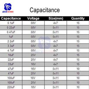 Image 4 - 200PCS 15 ערך אלומיניום אלקטרוליטי קבלים 10V 16V 25V 50V 0.1μF 0.22μF 1μF 3.3μF 10μF 47μF 100μF 220μF נמוך ESR קבלים