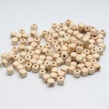 Doğal ahşap boncuklar Kare Takı Için 100 adet Bebek DIY Çocuk Oyuncakları Spacer Boncuk 10mm Ahşap Boncuk