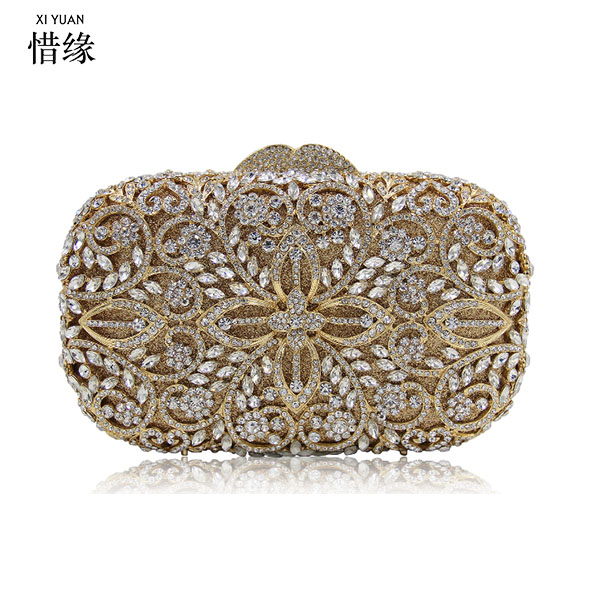 XIYUAN BRAND female gold party nightclub Evening Bags women Luxury Diamond silver Day Clutch Bags for wedding and bridal red xiyuan brand gold party purse bags women luxury silver crystal evening bags female pochette diamond ladies wedding clutch bags