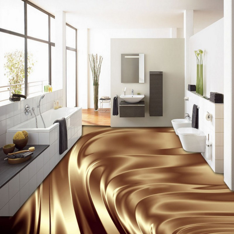 Free shipping 3D stereo beautiful gold metal ground painting background wall Floor stickers wallpaper mural