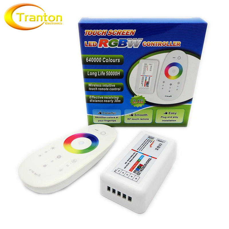 2 4G RGBW LED Controller 4Channels 24A DC12 24V Touch Screen Remote Control for RGBW LED