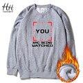HanHent Personalizado Camisolas Engrossar Carta Gola Redonda de Lã Homens Inverno Streetwear Hip Hop Impresso Hoodies EUA AD0467