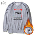 HanHent Personalized Sweatshirts Thicken Letter Round Collar Fleece Men Winter Streetwear Hip Hop Printed USA Hoodies AD0467
